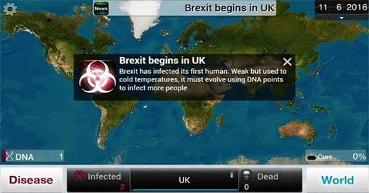 Brexit — самая популярная пандемия в Plague Inc.