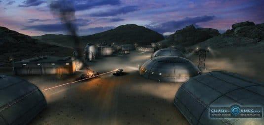 База в пустыне - ночь