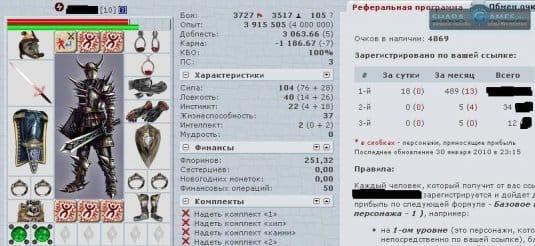 Данные о персонаже игрока