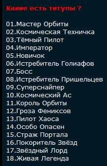Таблица титулов