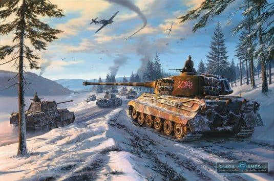 Красивый вид танка на зимней локации