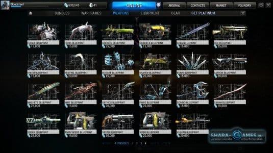 Оружие в игре Warframe