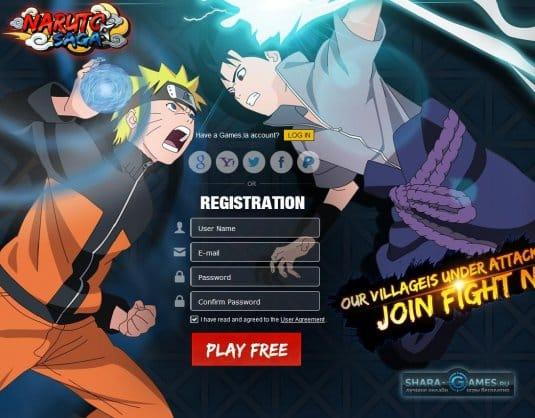 Регистрация в Naruto Saga на официальном сайте игре