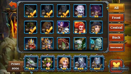 Окно выбора героев, которые будут участвовать в битве. Для удобства, все герои разделены на несколько групп, в зависимости от специализации