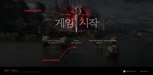 Страница официального корейского сайта Bless