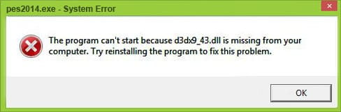 The program can't start because d3dx9_43 dll is missing from your computer. Try reinstalling the program to fix this problem