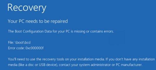 Ошибка 0xc000000f на Windows 8, Windows 8.1 и 10