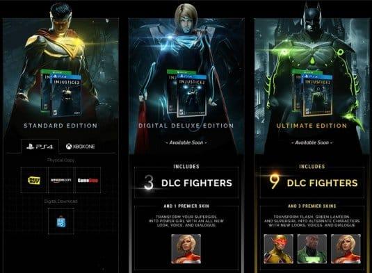 Различные варианты издания Injustice 2