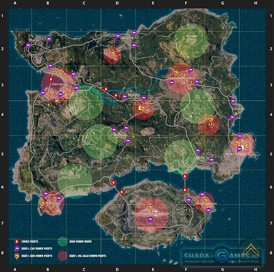 Карта острова в игре PUBG