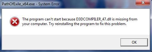 Ошибка D3DCompiler_47.dll