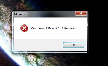 Сообщение системы о том, что требуется DirectX 10.1 и выше