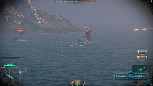 Полет снарядов из артиллерийского прицела