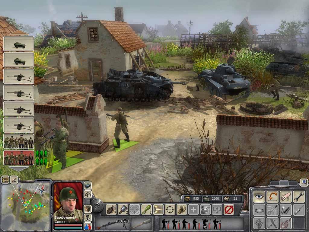 Возле разбитых танков врага