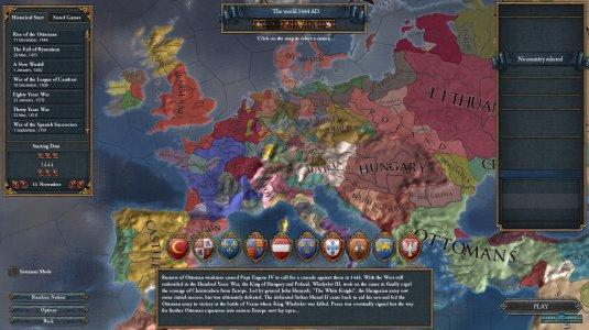 Меню игры, где можно выбрать сценарий игры и страну, за которую будете играть
