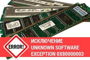 Ошибка: исключение Unknown software exception 0x80000003