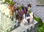 Ну и зверушки в Покорителях Онлайн. Олень в лошадиной сбруи, медведь с седлом и кролик-переросток