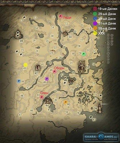 Карта одного из данжей