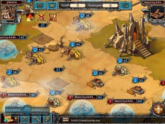 На глобальное карте можно посмотреть деревню любого игрока или отправить войска в пещеру