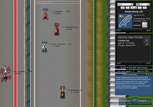 Вот так выглядит игровое окно гонки
