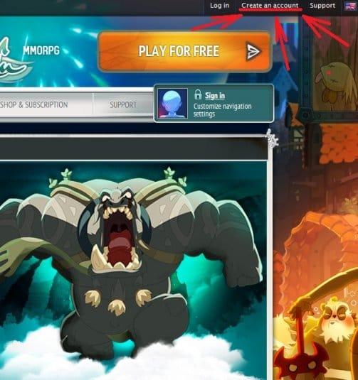Страница сайта и ссылка на возможность зарегистрироваться в игре