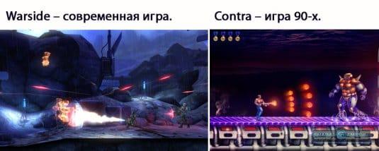 Warside – современная игра. Contra – игра 90-х.