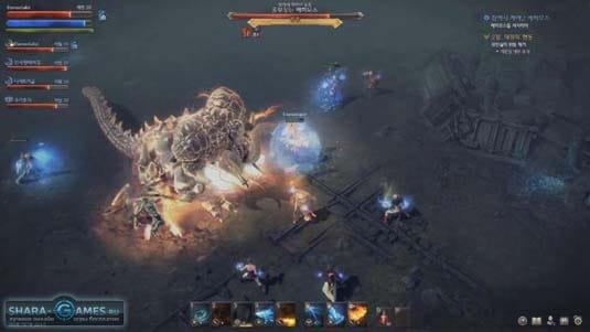 Сражение группы игроков с боссом