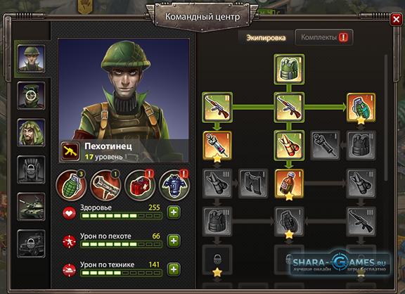 Окно экипировки солдат