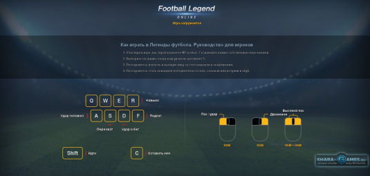 Управление в игре Football Legend