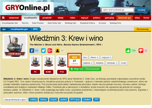 Скриншот польского сайта gry-online.pl