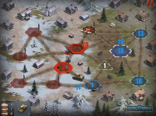 Демонстрация сражения на тактической карте. Синим цветом выделены ваши базы, красным — противника.