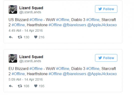 Посты в твиттере Lizard Squad