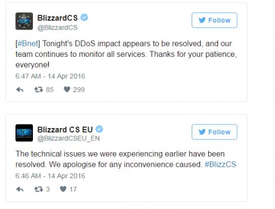 Посты в твиттере службы поддержки Blizzard