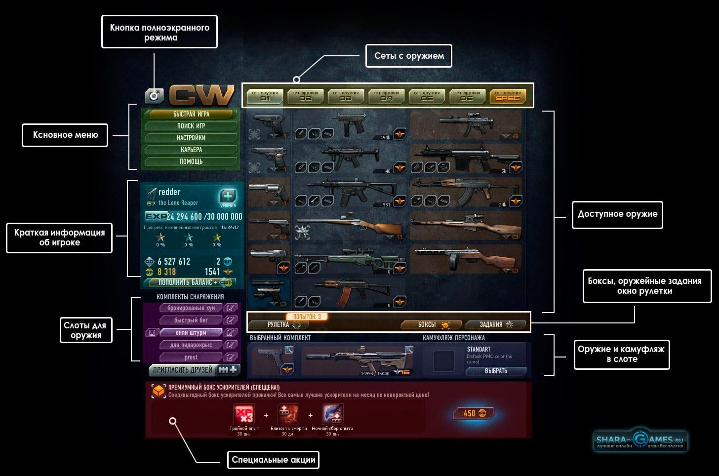 Интерфейс основного окна игры