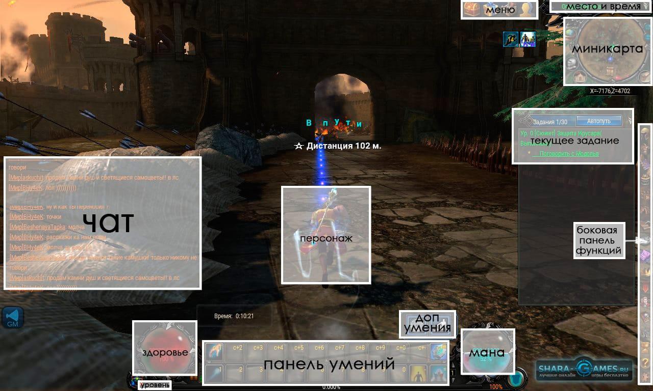 Интерфейс игрового окна