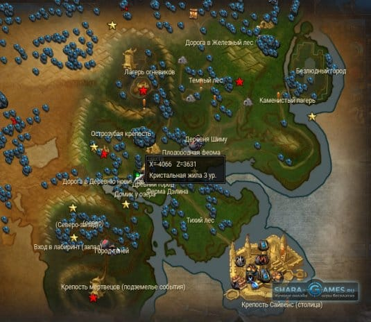 Карта с ресурсами