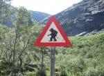 Дорожный знак «Осторожно, тролли!» перед извилистой частью дороги «Лестница троллей» в Норвегии