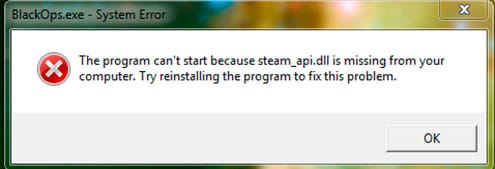 The program can't start because steam_API.dll is missing from your computer. Try reinstalling the program to fix this program