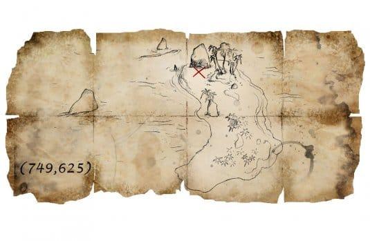 Карта сокровищ, на которой проставлены координаты Острова Абако