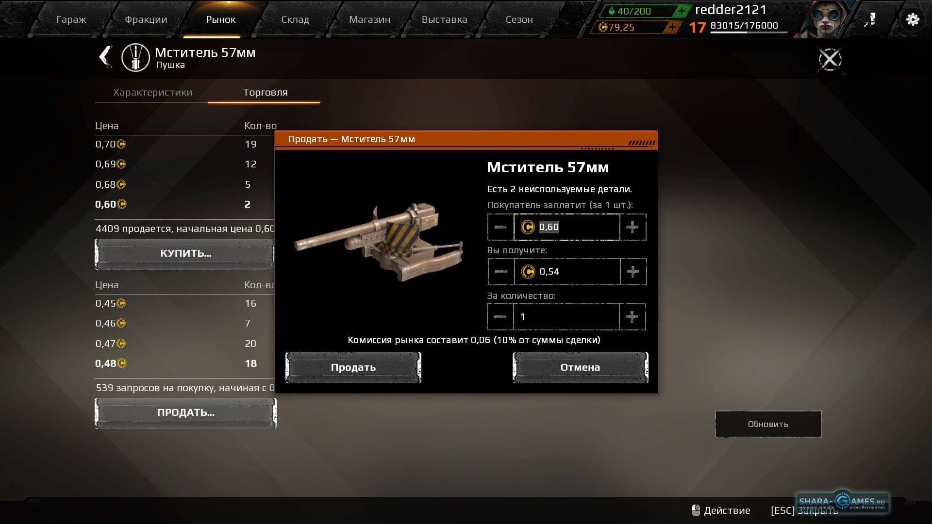 Выставляем пушку на рынок