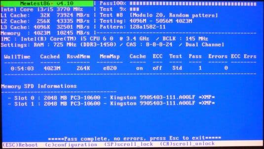 Поверка оперативной памяти программой MemTest