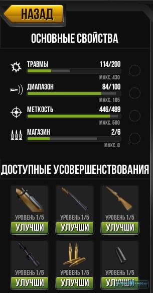 Показатели оружия