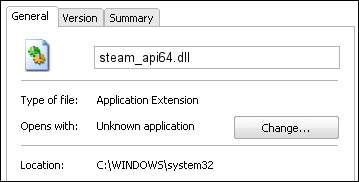 Ошибка Steam_API64.dll